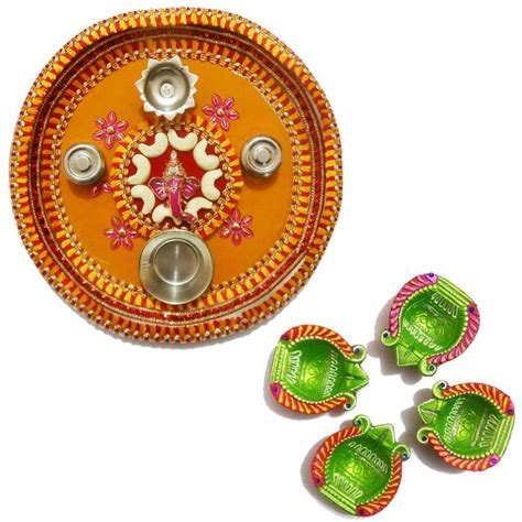 decorative diya and thali set buy traditional decorative multicolor stainless steel