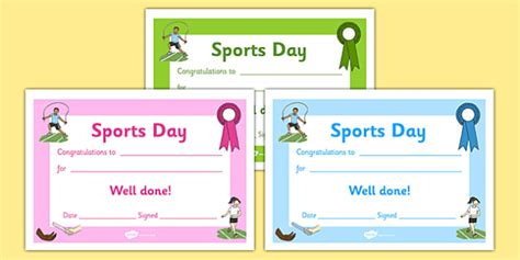 Sports Day Certificate Template by Editable Award Certificates Editable Sports Day Award