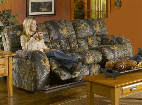 lodge manual reclining sofa in camouflage cover by