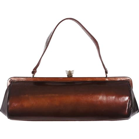 vintage 1940s copper leather handbag purse from