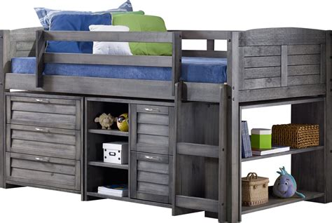 twin box low loft bed with dressers evan twin low loft slat bed with bookcase chest and