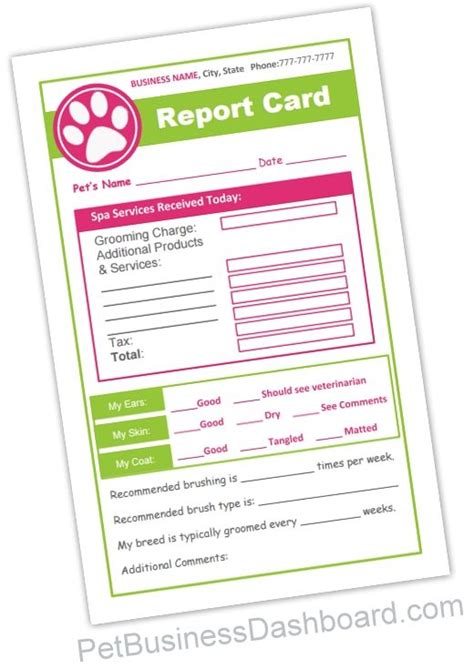 Free Grooming Report Card Template by Grooming Receipt Dual Function Pet Grooming Forms Serves