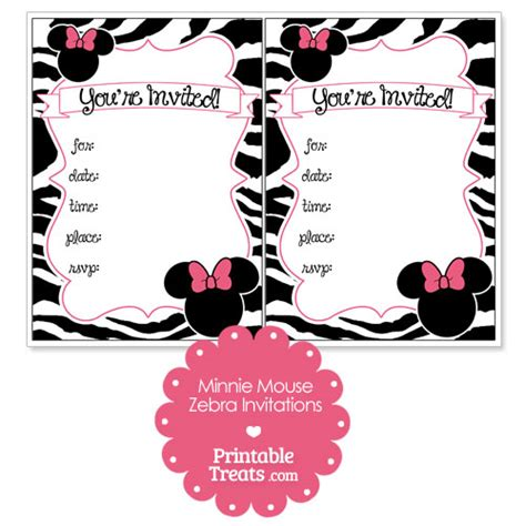 printable invitation templates minnie mouse minnie mouse zebra invitation template orderecigsjuice info
