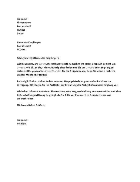 Gesch Ftlich Briefvorlage Brief Zur Best 228 Tigung Eines Vorstellungstermins An Einen Bewerber Office Templates