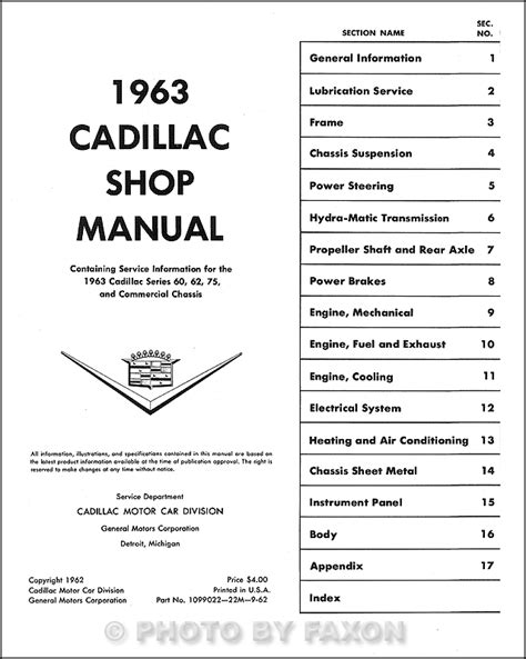 small engine repair manuals free download 1997 cadillac deville user handbook 1963 cadillac repair shop manual reprint all models