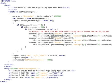 arduino ajax tutorial arduino inputs using ajax with xml on arduino web server