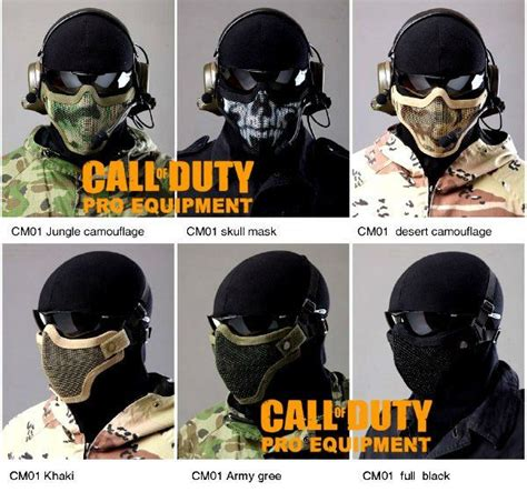 airsoft ghost mask call of duty pro equipment gen2 metal mesh lower half mask