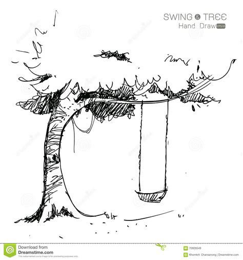 swing illustration tree with swing draw stock vector image 70926549