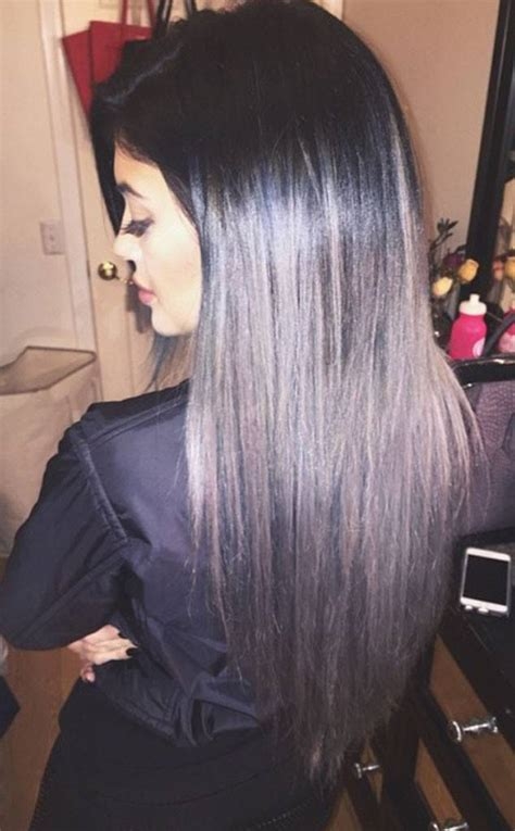 black grey hair kylie jenner goes gray with new ombr 233 hair extensions see