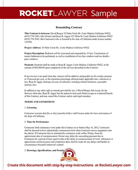 Home Improvement Contract Agreement Template With Sle Home Remodeling Contract Template