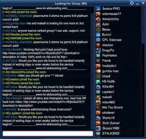 league of legends chat rooms lol chat room list