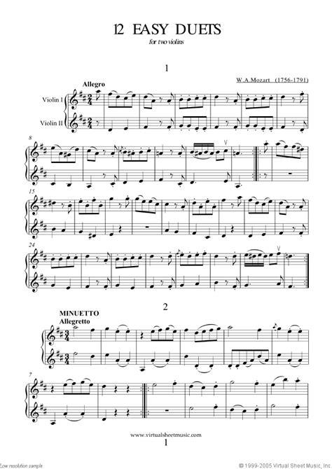 Suzuki Duets For Violins Pdf Mozart Easy Duets Sheet For Two Violins