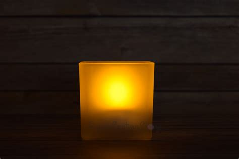 square tea light flameless led candle in frosted glass