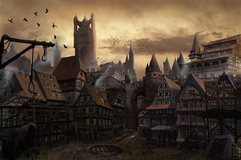 medieval buildings  towns  concept art inspiration