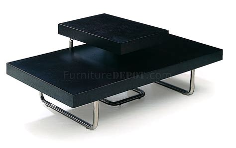 cappuccino finish contemporary coffee table with metal legs