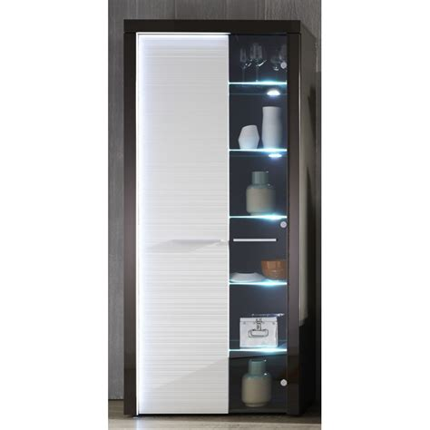 flamingo grey gloss display cabinet with led lights