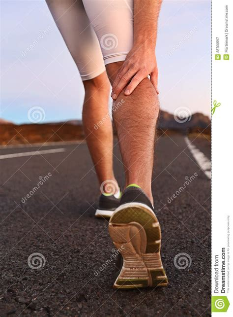 leg sprain crs in leg calves or sprain calf on runner royalty free stock photography image
