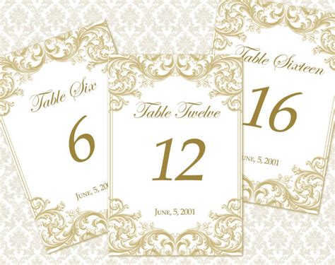diy printable wedding table number template by