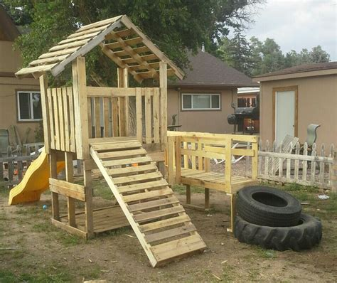 pallet swing set my pallet playhouse tree house play houses forts swing
