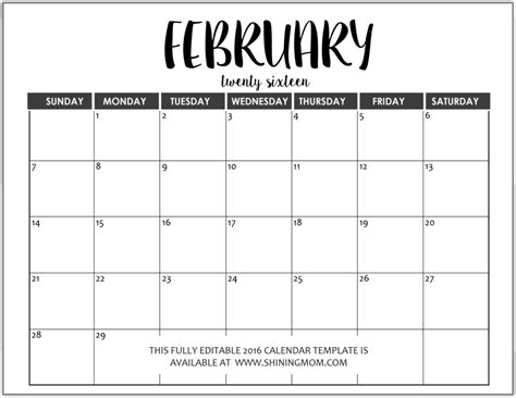 editable calendars by month 2016 search results