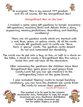 gingerbread man story printable pdf gingerbread man game board wh questions story recall