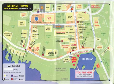 printable map grand cayman island georgetown grand cayman shopping map