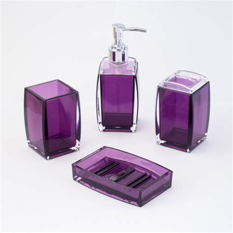 justnile 4 piece bathroom accessory set contemporary translucent purple 712392454261