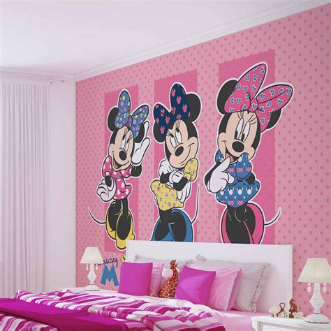 minnie mouse wallpaper for bedroom wall mural disney minnie mouse xxl photo wallpaper 1677dc