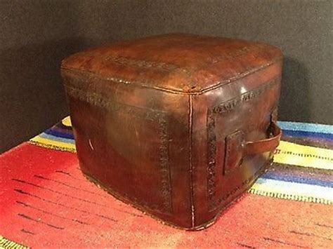 leather hassock ottoman vintage hand tooled leather mid century pouf hassock