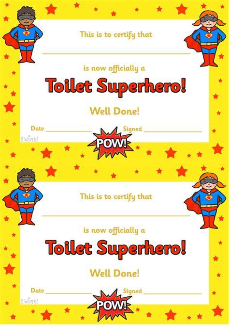 twinkl resources gt gt toilet superhero certificate