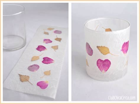 Wax Paper Crafts - leaf and flower petal nature wax paper votive candle holders