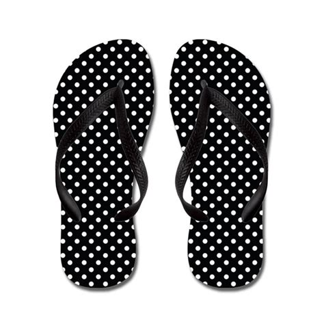 7855 black white dot polka dot black and white pattern flip flops by cuteflipflops