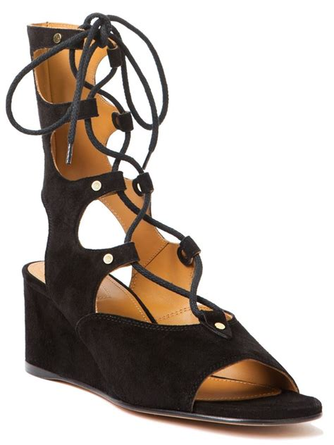 black tie up sandals chlo 233 gladiator lace up sandals in black lyst
