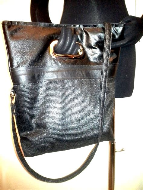 Tote Black Pesenan Bu Femmi shopper tote bag shiny black leather shimmer canvas silver eyelet handle sewing projects