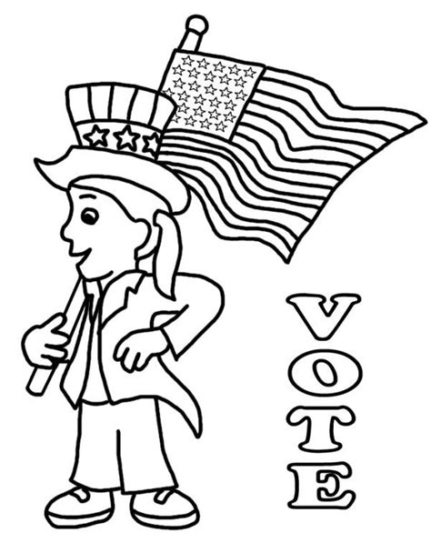 election day coloring pages preschool coloring pages depicting uncle sam voting booths and