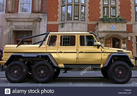 mercedes 6 wheel gold painted mercedes g63 amg six wheel drive supercar