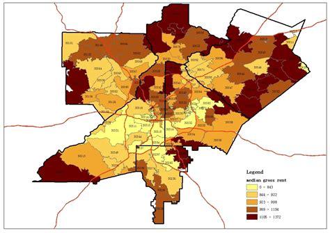 average rent by zip code map based atlanta zip code study