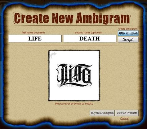 tattoo idea generator free ambigram tattoos generator are you looking for