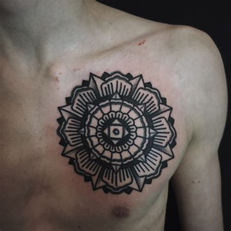 mandala sternum tattoo black mandala on chest