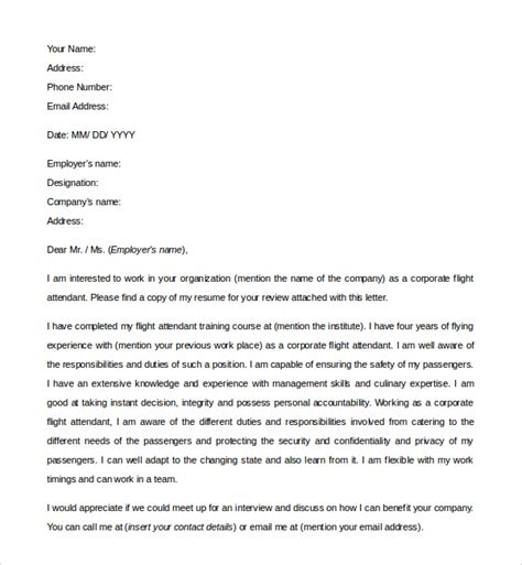 sle flight attendant cover letter 6 free documents