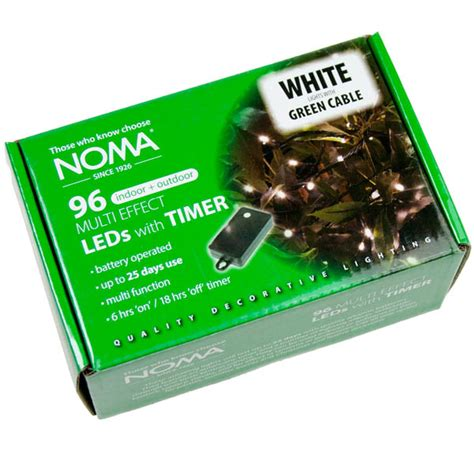 battery operated fairy lights with timer noma 8m length of 96 ice white indoor outdoor multi