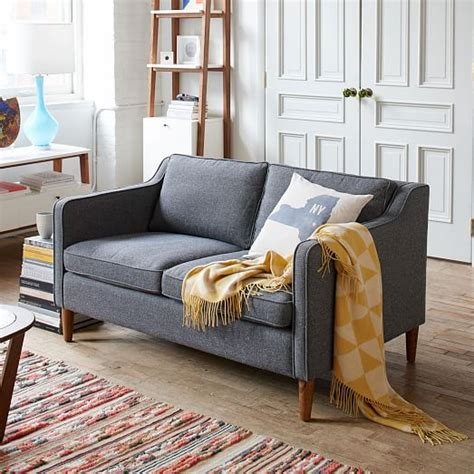 Hamilton Upholstered Sofa Salt Pepper Tweed West Elm