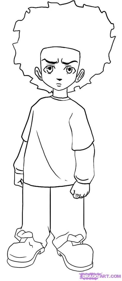 Step 6 How To Draw Huey Freeman From The Boondocks Boondocks Coloring Pages