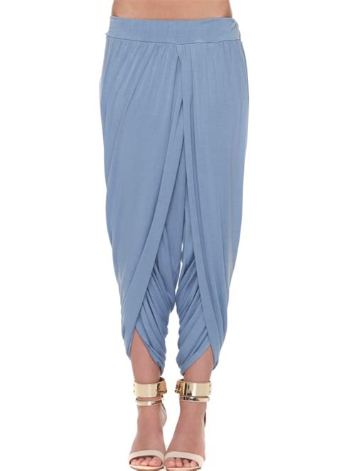 draped harem pants sugar babe blue draped jersey harem pants ladies