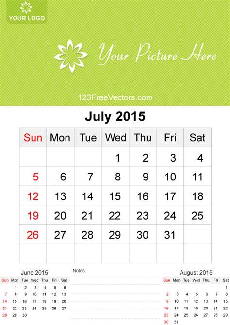 Calendar Template July 2015 July 2015 Calendar Template Vector Free Free