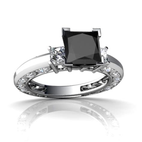 black onyx and deco ring white gold