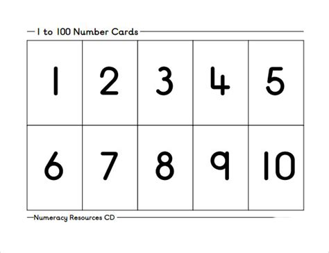 Card Templates To Cound 10 number sles sle templates
