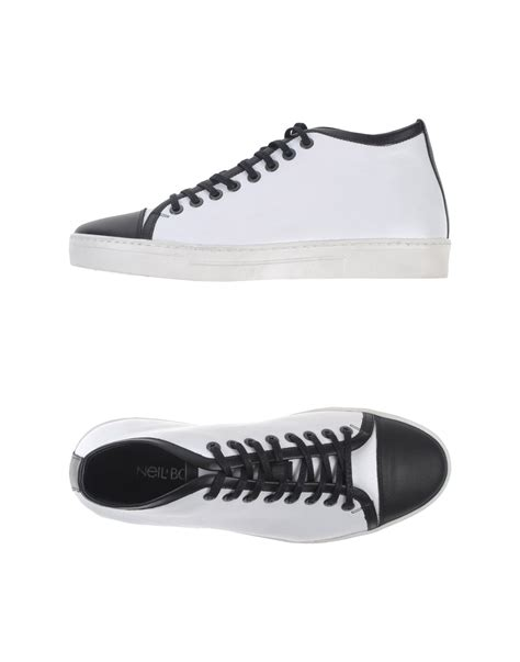 neil barrett shoes neil barrett two toned high top sneakers in white for