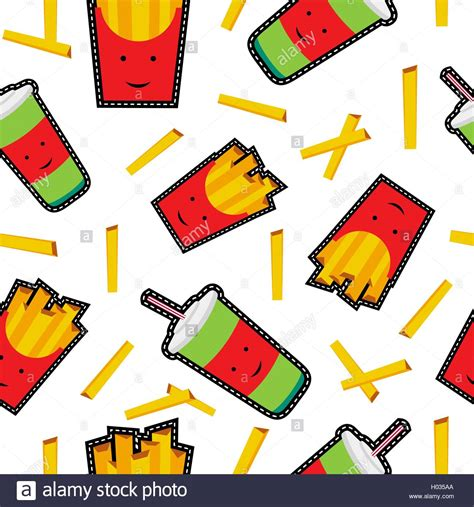 Soda Stitch So G10 Lunch Of seamless pattern with fries and soda drink stitch