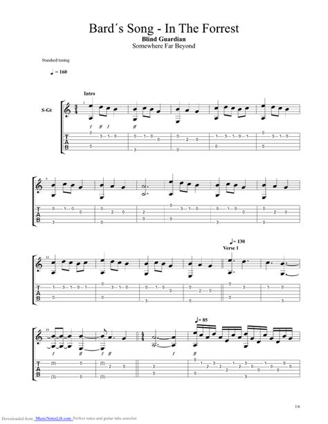 The Bards Song In the Forrest guitar pro tab by Blind ... I'm Lost Song